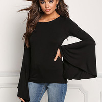 Black Bell Sleeve Keyhole Knit Top