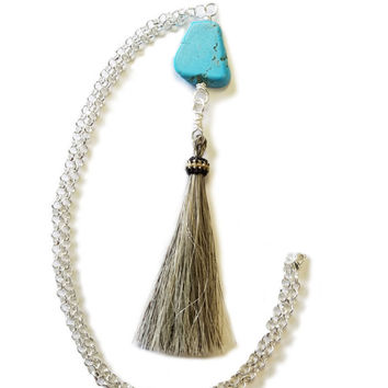 Western Jewelry,Horse Hair Tassel Necklace,Grey Horsehair Jewelry,Equestrian Jewelry,Horsehair Tassel,Handmade Tassle Necklace,Turquoise