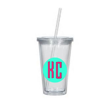 Circle monogram tumbler - personalized 16 oz acrylic tumbler with lid and straw.