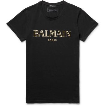 Gold & Black Jersey Logo T-Shirt by Balmain