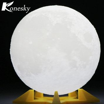 3D Magical Moon LED Nightlight Lamp Novelty Decor USB Rechargeable 3 Light Colors
