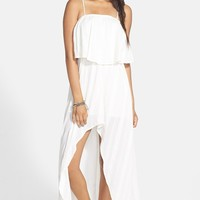 RVCA 'Luck Now' Ruffle Bodice High/Low Maxi Dr