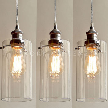 3PC Allira Pendant Lights Clear Glass Chrome Fittings