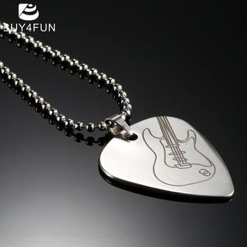 ICIKUH3 High Quality Guitar Pick Necklace with 50cm/20in Ball Chain Silver Color Stainless Steel Guitar Parts and Accessories