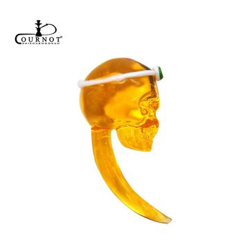 COURNOT Crystal Skull Shape Glass Carb Cap Dabber Wax Oil Tool 2.36 Inch Handle Oil Wax Cavers Tool Water Pipe Accessories