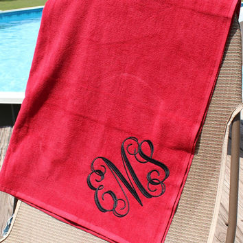 Monogram Beach Towel Red, Spring Break, Graduation, Beach Vacation, Personalized Christmas Gift