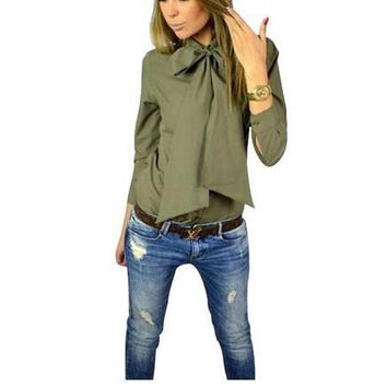 2016 Spring Autumn Fashion Women Blouse Work Shirt Solid Color Casual Slim Big Bowknot Shirts Blusa Femininos Tops M0499