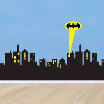 Batman Dark Knight gift Christmas Removable Wall sticker GOTHAM Modern CITY SKYLINE Batman Decal Removable WALL STICKER Home Decor Art AT_71_6