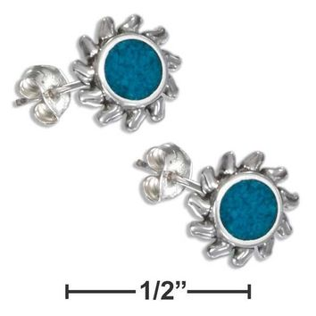 STERLING SILVER SIMULATED TURQUOISE SUN EARRINGS ON STAINLESS STEEL POST/NUTS