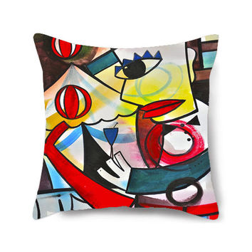 Decorative Home Pillow Cover,Throw Pillow, Circus Art, Nursery Pillow, Abstract Pillow, Colorful Pillows, Accent Pillow, The Juggler