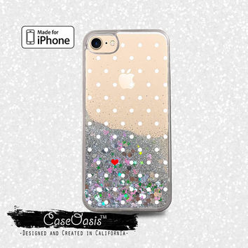 Polka Dot Pattern Red Heart White Dots Cute Liquid Glitter Sparkle Case iPhone 6 and 6s iPhone 6 Plus and 6s Plus iPhone 7 and iPhone 7 Plus
