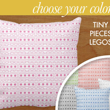 """Lego Tiny Pieces Pattern Throw Pillow Home Decor, 16x16"""" or 20x20"""" pillow or pillow cover - original design by laurenmary"""