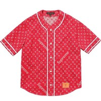 Supreme x LV Louis Vuitton Monogram Denim Baseball Jersey Red Sz Medium