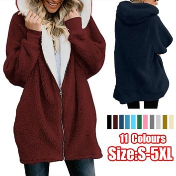 11 Colors Women Overcoat Winter Warm Coat Women Casual Zipper Coat Fluffy Hooded Cotton-padded Coat Outwear Size:S-5XL