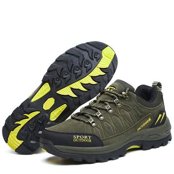 New Men Mountain Climbing Shoes Big Size Hiking Sneakers Leather Trekking Boots Army Green Trekking Boots Large Size