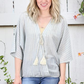 ELAN: Striped Surplice Tassel Tie Blouse {Blue/Natural}