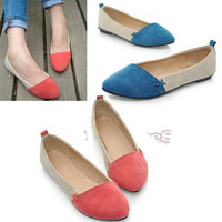New Women Girl Shoes Ballet Low Heels Flat Loafers Casual Comfort 3 Color ElR8