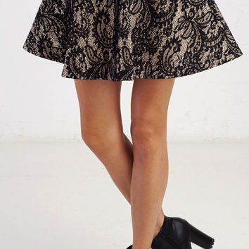 Elegant Lace Skater Mini Skirt