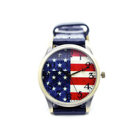 Stars and stripes leather watch