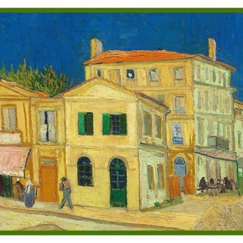 The Yellow House Street Scene by Vincent Van Gogh Counted Cross Stitch or Counted Needlepoint Pattern