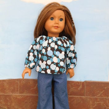 18 Inch Doll Clothes, Doll Prairie Shirt, Brown and Blue Prairie Shirt with Blue Jeans, Winter Doll Clothes, Fits American Girl Dolls