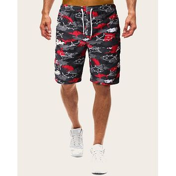 Men Shark Print Side Pocket Drawstring Bermuda Shorts