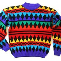 Shop Now! Ugly Sweaters: Bright Vintage 80s Tacky Ugly Cosby Sweater for Girls Women's Size Small (S) $22