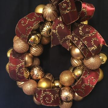 "Beautiful 18 in. ""Wild"" Red or Chocolate and Leopard Ornament Wreath"