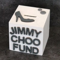 Jimmy Choo Fund wooden money box - Scratchy Cat Crafts