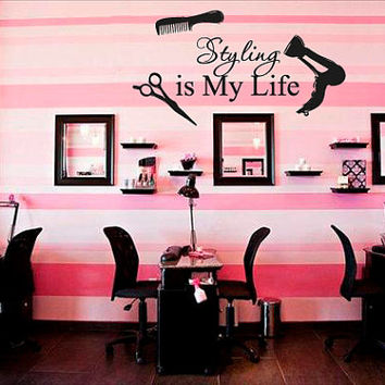 Wall Decal Vinyl Sticker DecalsDecor Hair Salon Hairdresser Beauty Quote  styling is my life Bedroom Fashion Cosmetic (r1373)