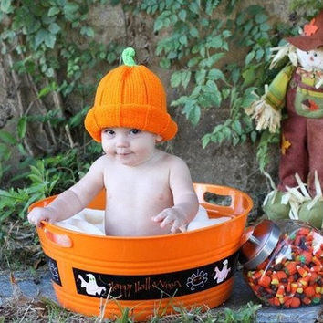 Baby Girl Boy Pumpkin Hat // Ready to Ship // Pregnancy and Newborn Magazine Feature-newborn knit hat-boy/girl photo prop-any size you want