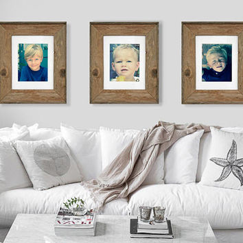 SET OF 3 - Traditional Reclaimed Wood 8 x 10 or 11 x 14 Shabby Chic Picture Frames with Matting, coastal frame, rustic picture frame