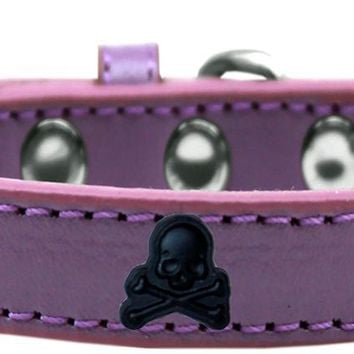 Skull Widget Dog Collar Lavender Size 16