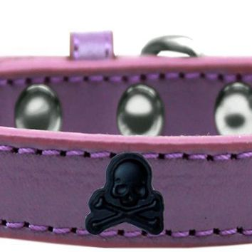 Skull Widget Dog Collar Lavender Size 12