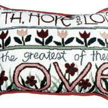 "2 Faith, Hope And Love Throw Pillows -  "" Corinthians 13 "" 13 ""  Quote"
