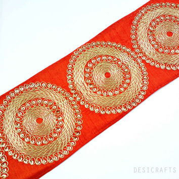 Rust and Gold Gota Patti - Sari Border - Gota Ribbon for Wedding Lehenga Dresses - Raw Silk Border