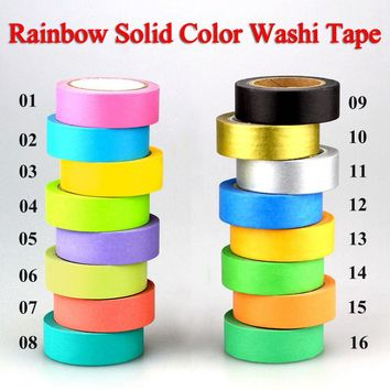 10m DIY Cute Kawaii Rainbow Solid Colors Washi Tape Masking Tape Decorative Adhesive Tape For Home Decoration and Scrapbooking