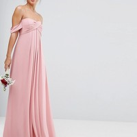 ASOS WEDDING Bandeau Tie Front Maxi Dress at asos.com