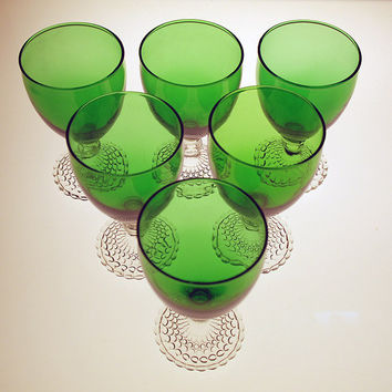 Forest Green Goblets - Set of 6 - Hobnail Boopie Base - Anchor Hocking