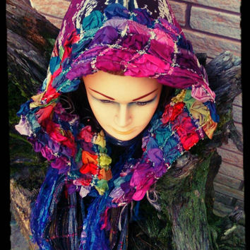 Hooded Scarf Warm Winter Hood  Festival Hood Cosplay Hood Upcycled Clothes OOAK Hat Festival Hood