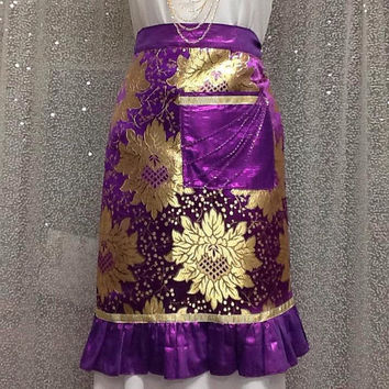 Purple half apron, Hostess apron, Birthday Gift, Housewarming gift, Birthday Gift For Mother in law, Purple Frilly Apron New Home Gift,