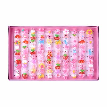 Cute Children's Day Jewelry Plastic Kids Rings for Girls, with Mixed Style Resin Cabochons, Mixed Color, 41mm; 100pcs/box