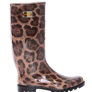 Leopard Rubber Rain Boots Shoes