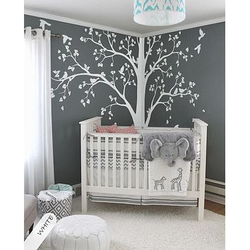 Baby Bedroom Huge Tree With Falling Leaves And Birds Wall Decal