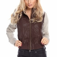 BROWN BEIGE FAUX LEATHER HOODED BOMBER MOTO JACKET
