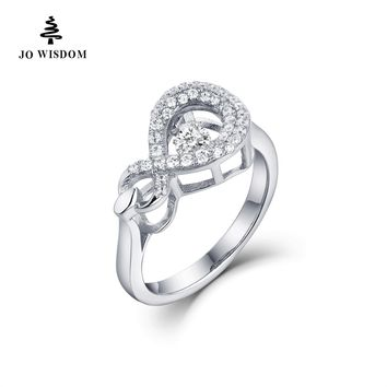 100% Dancing Natural Topaz Wedding Engagement Rings for Women 925 Sterling Silver Jewelry Infinity Rings Romantic Wedding Band