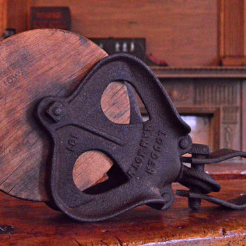 Large Vintage Louden Mammoth Pulley, Wooden Pulley Wheel, Industrial Pulley