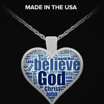 100 Top Bible Verses Word Cloud - Heart Necklace bibleversesnecklace