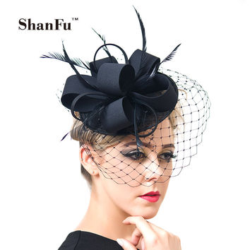 ShanFu Women Fancy Feather Fascinator Hats Black Birdcage Veil Wedding Hats  and Fascinators White Net Hair d35def2fbcd