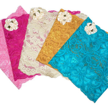 Floral Scalloped Stretch Lace Satin Pearl Rose Peek a Boo Boot Cuffs U PICK COLOR